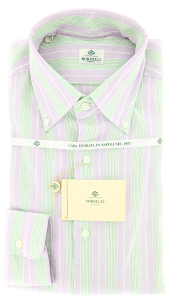 New $425 Borrelli Lavender Purple White, Green Striped Cotton Shirt 16.5/42