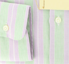 New $425 Luigi Borrelli Lavender Purple 100% Cotton Shirt - Slim Fit - 17.5/44