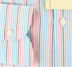 New $425 Borrelli Light Blue, Brown and Pink Shirt - Slim Fit - Shirt 16/41