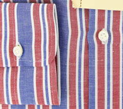 New $425 Luigi Borrelli Red White, Blue Striped Cotton Shirt 17/43