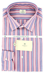 New $425 Luigi Borrelli Red Striped Fancy Weave Shirt - Slim Fit - 16.5/42