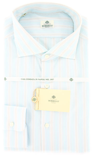 New $425 Borrelli Light Blue and Beige Striped Shirt - Extra Slim Fit - 17/43