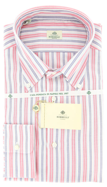 New $425 Luigi Borrelli Red Button Down Collar Cotton Shirt 18.5/46