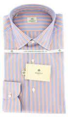 New $425 Luigi Borrelli Light Blue and Orange Stripe Shirt - Slim Fit - 15.75/40