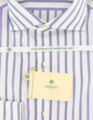 New $425 Borrelli Purple Striped Shirt - Extra Slim - 15.75/40 - (EV5236NANDO)