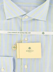 New $425 Borrelli Light Blue Striped Shirt - Extra Slim - 17/43 - (EV5257NANDO)
