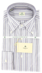 New $425 Borrelli Blue and Beige Striped Shirt 15/38