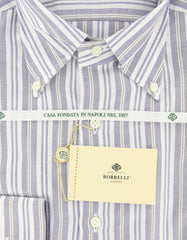 New $425 Luigi Borrelli Blue and Beige Striped Shirt 17/43
