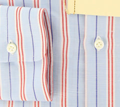 New $425 Borrelli Light Blue Striped Shirt - Slim - 15.5/39 - (DR412RALPH)