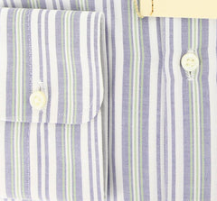 New $425 Luigi Borrelli Navy Blue Striped Shirt - Slim - 15/38 - (DR1798OVIDIO)