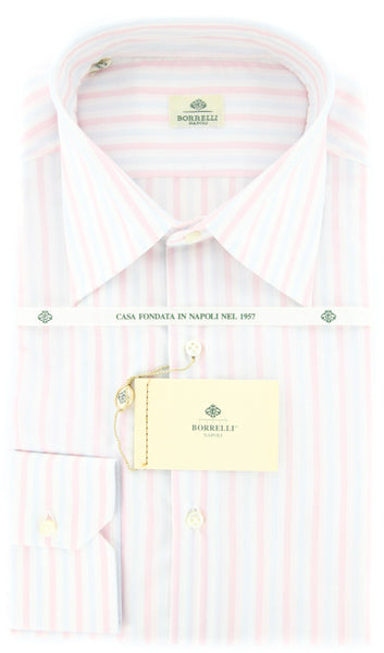 New $425 Luigi Borrelli Pink Striped Shirt - Slim - 15.75/40 - (DR1812NICOLA)