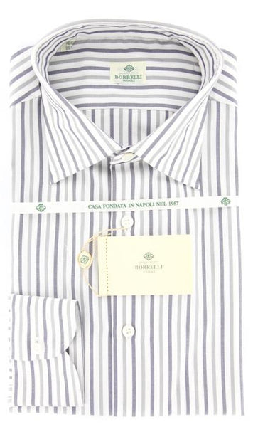 $425 Luigi Borrelli Gray Mignight Navy Blue, White Striped Cotton Shirt 15.75/40
