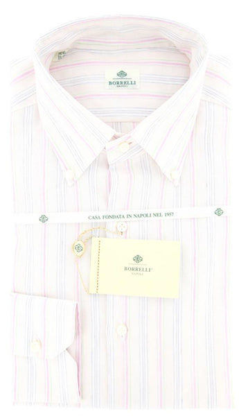New $425 Luigi Borrelli Pink, White, Green and Blue Striped Shirt 15.5/39