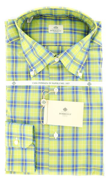 New $425 Luigi Borrelli Green Light Blue, Blue Plaid Cotton Shirt 15.75/40