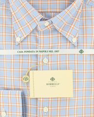 New $425 Luigi Borrelli Light Blue and Orange Plaid Button Down Shirt 15.75/40
