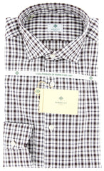 $425 Luigi Borrelli Dark Brown Plaid Shirt - Extra Slim - 16/41 - (GB7449)