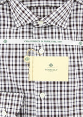 $425 Luigi Borrelli Dark Brown Plaid Shirt - Extra Slim - (GB7449) - Parent