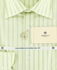 New $425 Luigi Borrelli Green White Striped Cotton Shirt -Slim Fit -15.75/40
