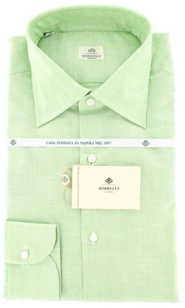 New $425 Luigi Borrelli Green Solid Shirt - Slim - 16/41 - (DR1269HENRY)