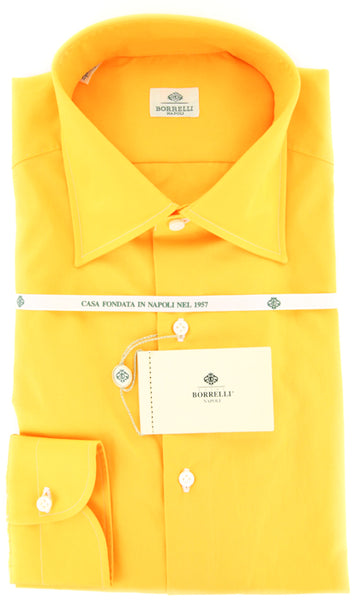 $425 Luigi Borrelli Orange Solid Cotton Shirt - Slim - (GB7823) - Parent