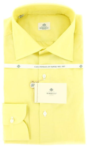 New $425 Luigi Borrelli Yellow Fancy Weave Shirt - Slim Fit - 15.75/40