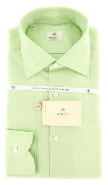 New $425 Luigi Borrelli Green Solid Shirt - Slim - 15.75/40 - (DR1268HENRY)