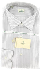 New $425 Borrelli Gray Striped Shirt - Extra Slim - 17/43 - (EV5188LEONARDO)