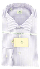New $425 Luigi Borrelli Lavender Purple Striped Shirt - 17/43 - (EV5072LEONARDO)