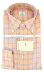 New $425 Luigi Borrelli Orange Shephard's Check Shirt - Slim Fit - 15.75/40