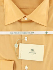 New $425 Luigi Borrelli Orange Solid Cotton Shirt - Slim Fit - 15.75/40