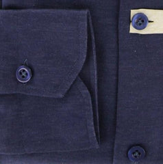 New $375 Borrelli Navy Blue Solid Shirt - Extra Slim - S/S - (MA4980070CLAUDIO)