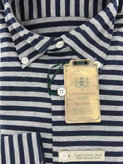 New $375 Luigi Borrelli Navy Blue Striped Shirt - M/M - (MA2840073STEFANO)