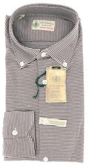New $375 Borrelli Brown Striped Shirt - Extra Slim - S/S - (MA2820060STEFANO)
