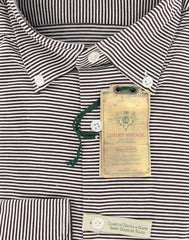 New $375 Borrelli Brown Striped Shirt - Extra Slim - L/L - (MA2820060STEFANO)