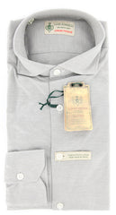 $375 Luigi Borrelli Gray Striped Shirt - Extra Slim - M/M - (MA4970030CLAUDIO)