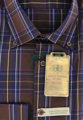 New $375 Borrelli Brown Plaid Shirt - Extra Slim - 15.75/40 - (EV962STEFANO)