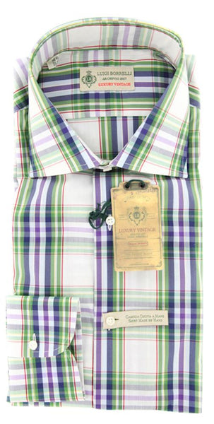 $375 Luigi Borrelli Green Plaid Shirt - Extra Slim - (GB8682) - Parent
