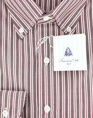 New $425 Finamore Napoli Brown White, Red Striped Cotton Shirt 16.5/42