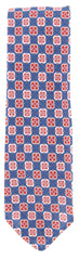 "New $195 Finamore Napoli Navy Blue Floral Tie - 3.25"" x 57"" - (TIEFLORX176)"