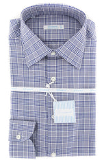 $375 Giampaolo Dark Blue Plaid Shirt - Extra Slim - 15.5/39 - (608GP-2061-75)
