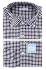 $375 Giampaolo Dark Gray Plaid Shirt - Extra Slim - 16.5/42 - (608GP-468-74)