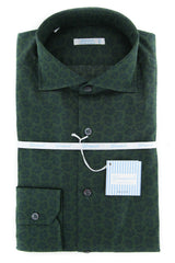 $375 Giampaolo Dark Green Paisley Shirt - Extra Slim - 15.75/40 - (608GP-544-50)
