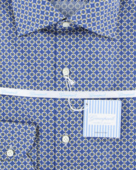 $375 Giampaolo Blue Fancy Shirt - Extra Slim - (GP608TS1673NYOPT3) - Parent
