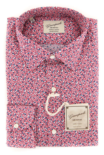 $375 Giampaolo Red Floral Shirt - Extra Slim - (GP61817694AL10STPT1) - Parent