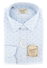 $375 Giampaolo Light Blue Stars Shirt - Extra Slim - 16/41 - (GP618211771SEVPT1)