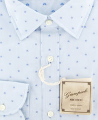 $375 Giampaolo Light Blue Stars Shirt - Extra Slim - (GP618211771SEVPT1) - Parent