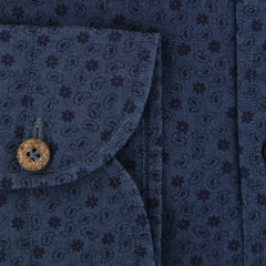 $375 Giampaolo Navy Blue Paisley Shirt - XSlim - (GP618215371FELCPT1) - Parent