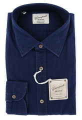 $375 Giampaolo Dark Blue Solid Shirt - Extra Slim - 15.75/40 - (618GP2171-73)