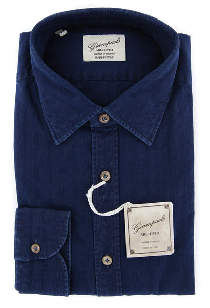 $375 Giampaolo Dark Blue Solid Shirt - Extra Slim - (618GP2171-73) - Parent