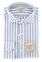 $375 Giampaolo Dark Blue Striped Shirt - XSlim - 15.75/40 - (GP61825377CLAUDPT1)